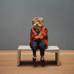 Tischgesellschaft - Holzskulpturen Georg Schulz